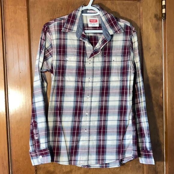 Wrangle plaid collared long sleeve shirt, size S